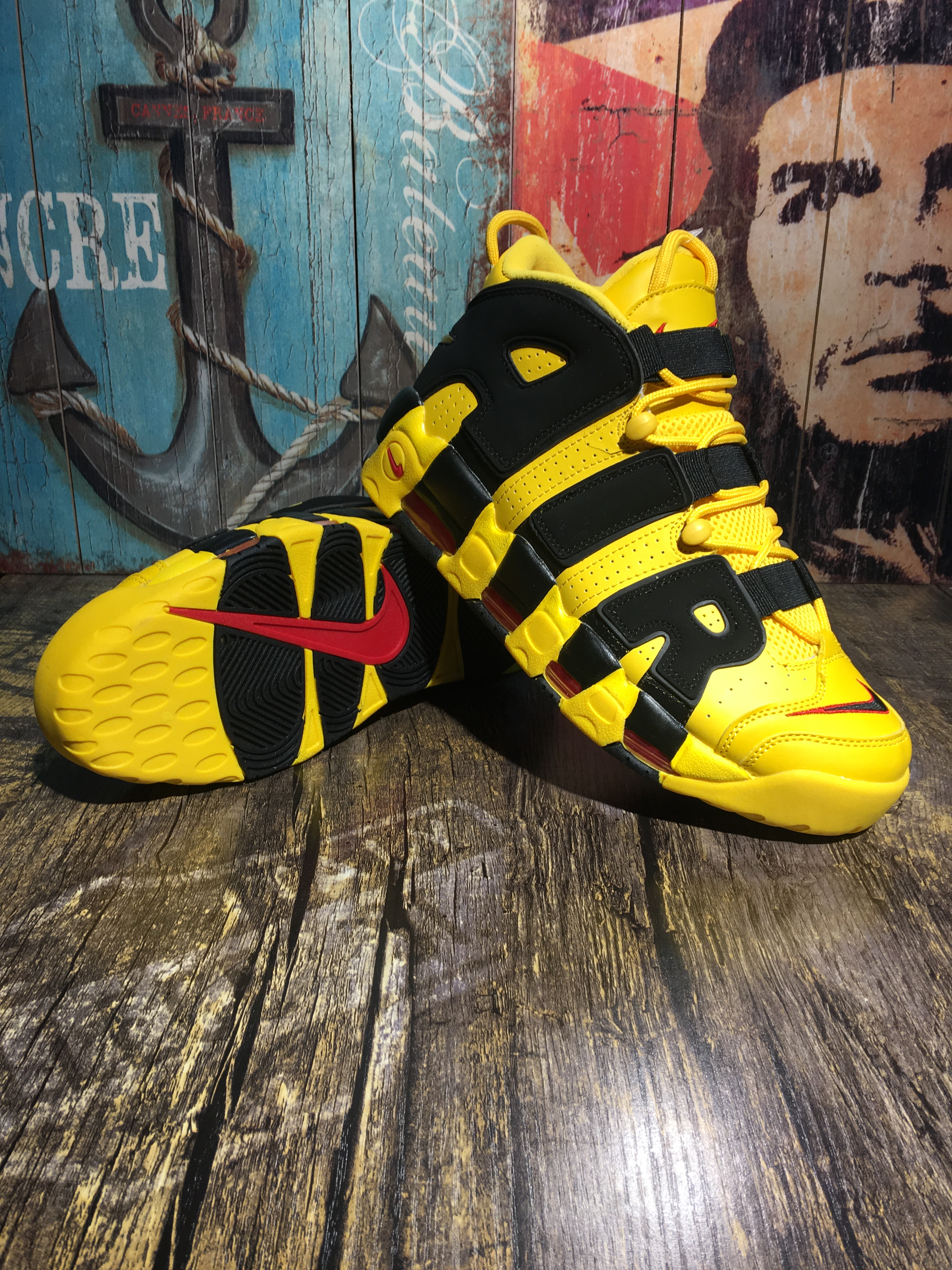 Nike Air Uptempo Yellow Black Shoes