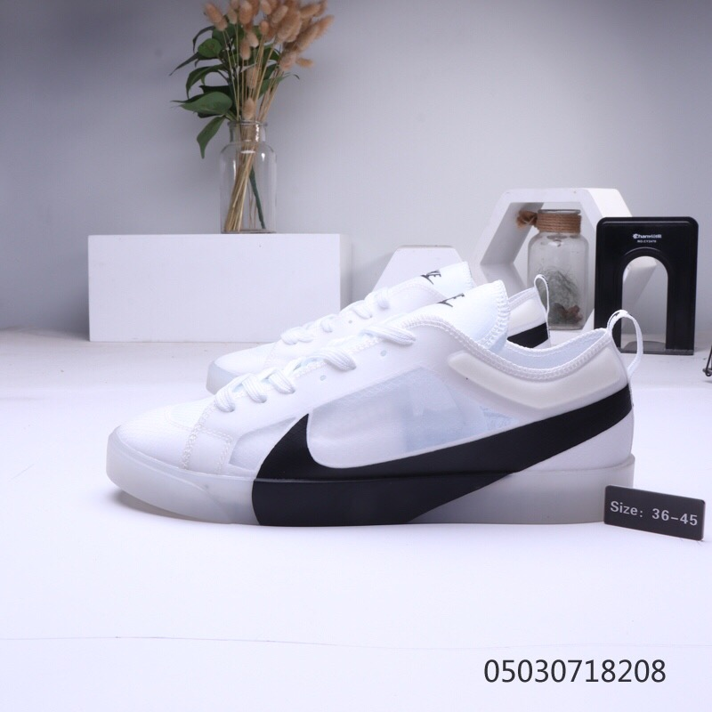 Women Nike Blazer Low Mesh Vamp White Black Shoes