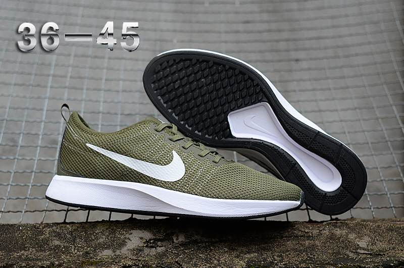 Women Nike Dualtone Racer Army Green White Running Shoes