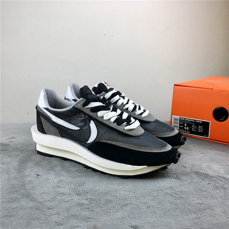 Women Sacai x Nike LDV Waffle Black Grey White Shoes