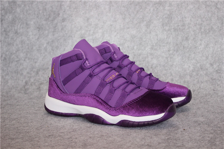 Women Air Jordan 11 High Velvet Purple White Shoes