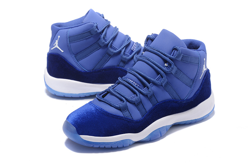 detailed look a99f8 4affc Women Air Jordan 11 Royal Blue White Shoes