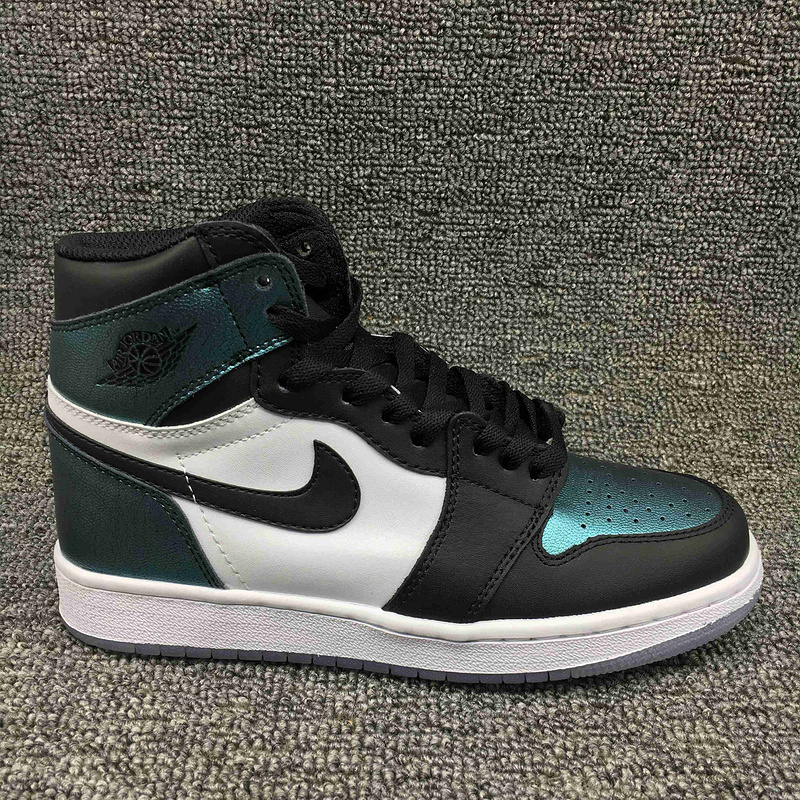 Women Jordan 1 Retro Chameleon Black White Blue Shoes