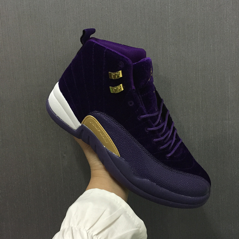 Women Jordan 12 Velvet Purple Gold White Shoes