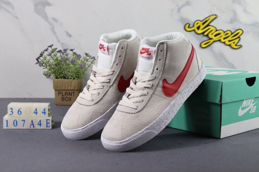 MEN Nike SB Bruin Hi White Red Shoes