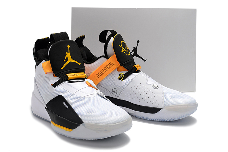 Man Air Jordan 33 White Black Yellow Shoes