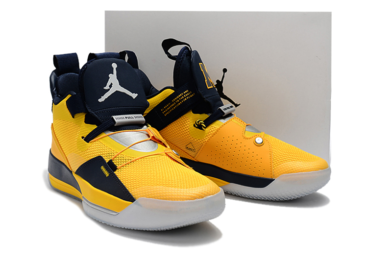 Man Air Jordan 33 Yellow Blue Shoes