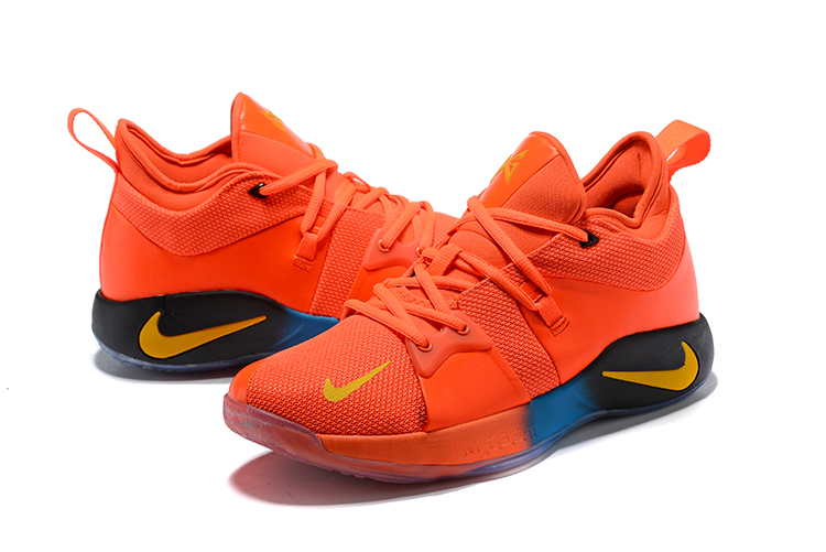 Men 2018 Nike PG 2 Orange Yellow Black Shoes