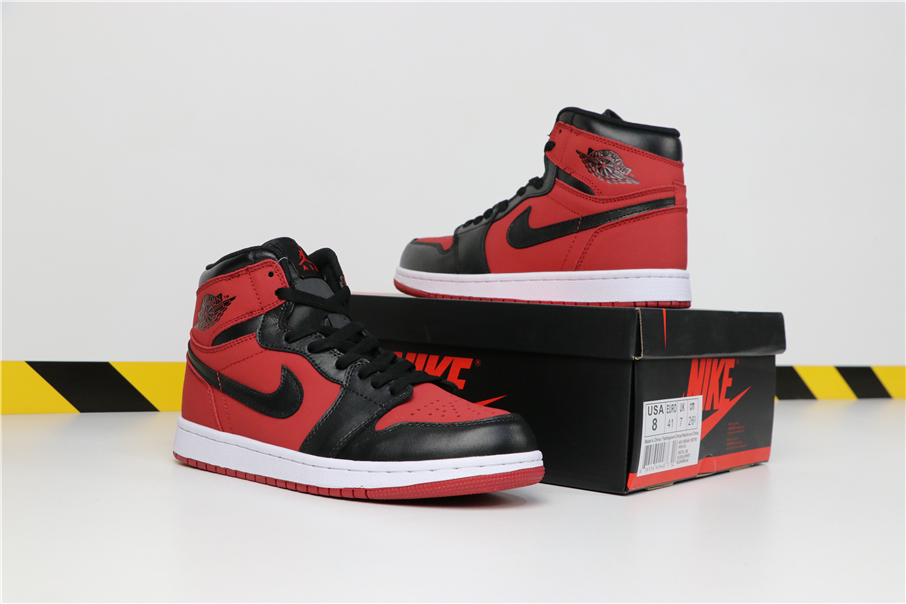 Men Air Jordan 1 MID Red Black White