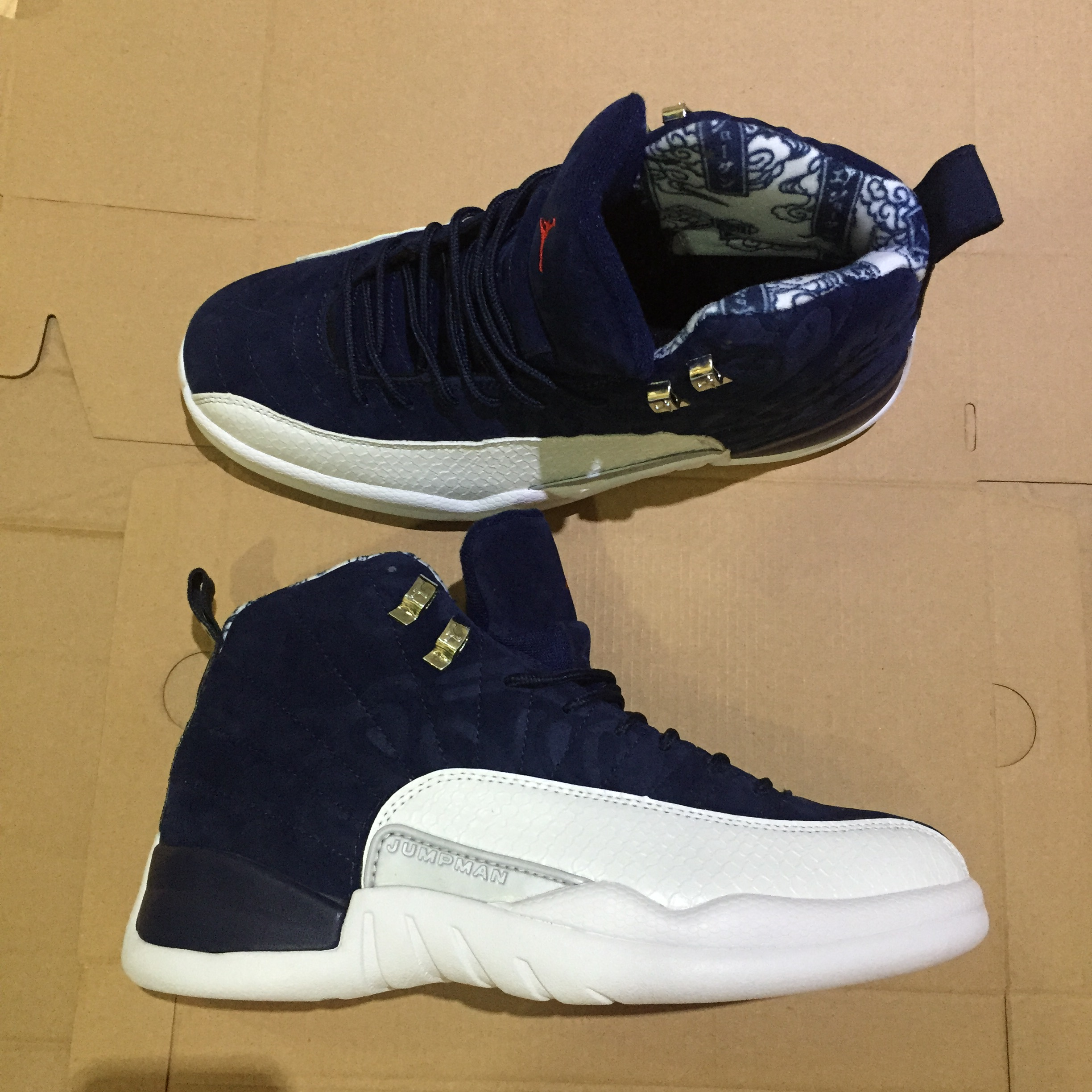 Men Air Jordan 12 Retro Deep Blue White Red Gold Shoes