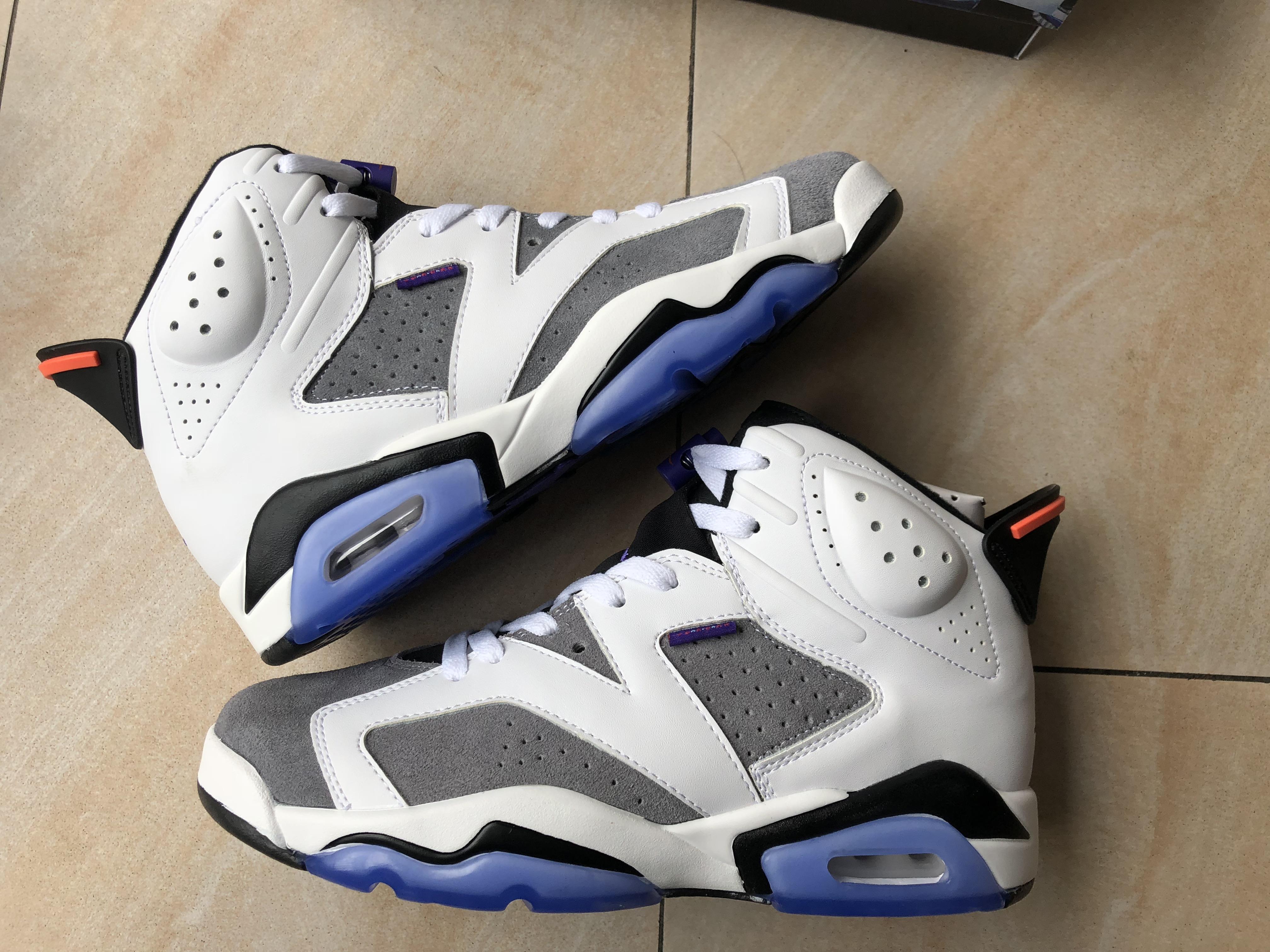 ca959b8eb836 Men Air Jordan 6 FIint White Grey Black Blue Sole Shoes ...