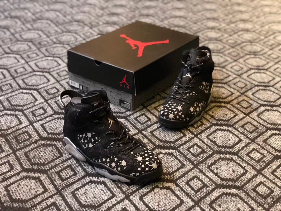 Men Air Jordan 6 The Paparazzi Black Shoes