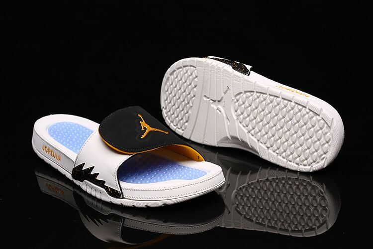 Men Air Jordan Hydro 5 Velcro White Blue Black Yellow Sandal