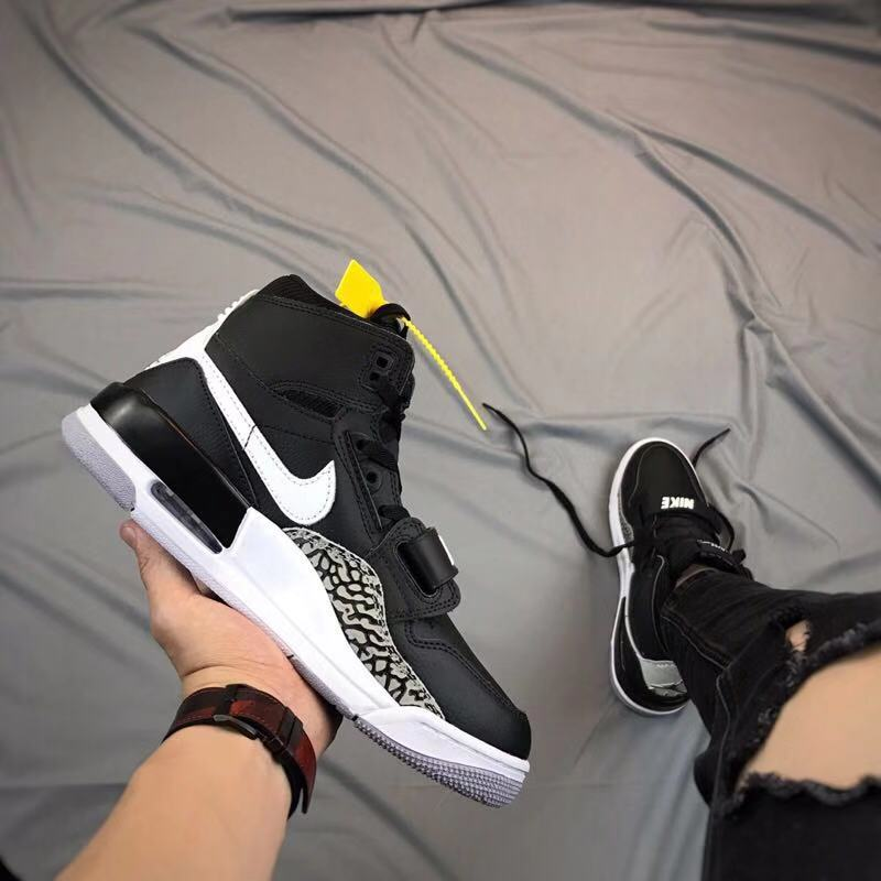 Men Air Jordan Legacy Black White Cement Shoes
