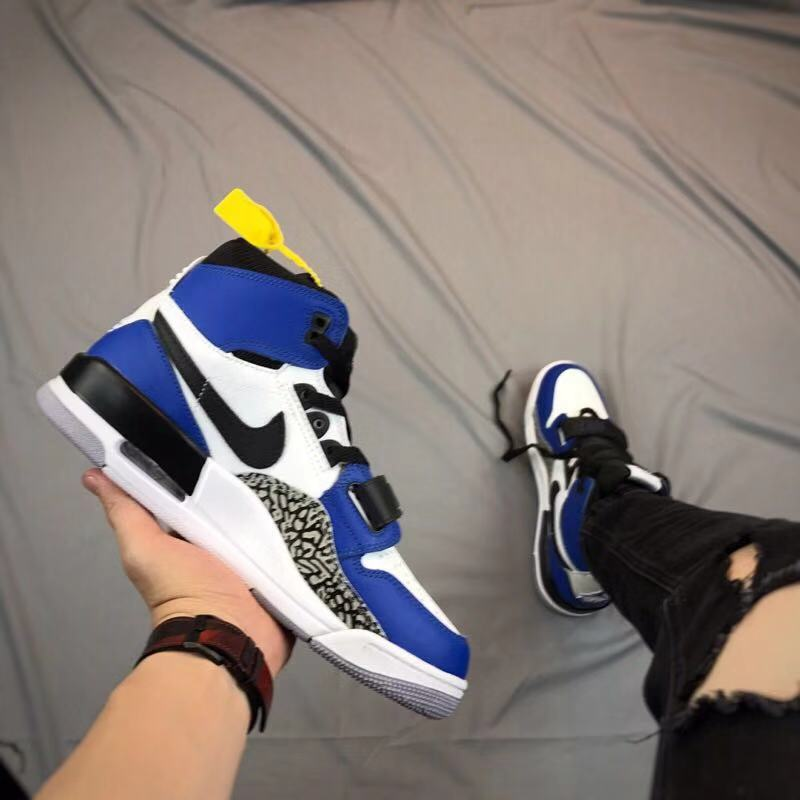 Men Air Jordan Legacy Blue White Black Cement Shoes