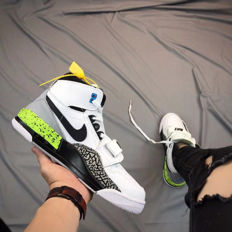 Men Air Jordan Legacy White Black Cement Green Shoes
