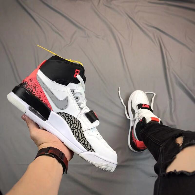 Men Air Jordan Legacy White Black Red Cement Shoes