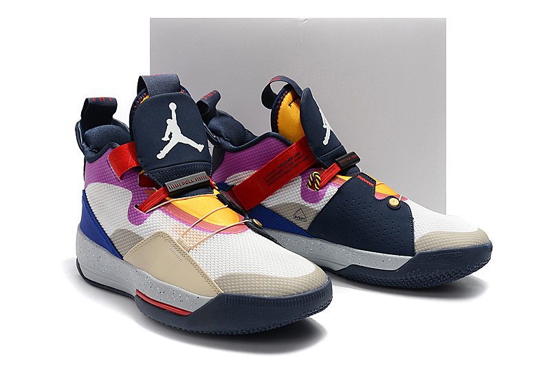 Men Air Jordan XXXIII Grey Black Yellow Red Shoes