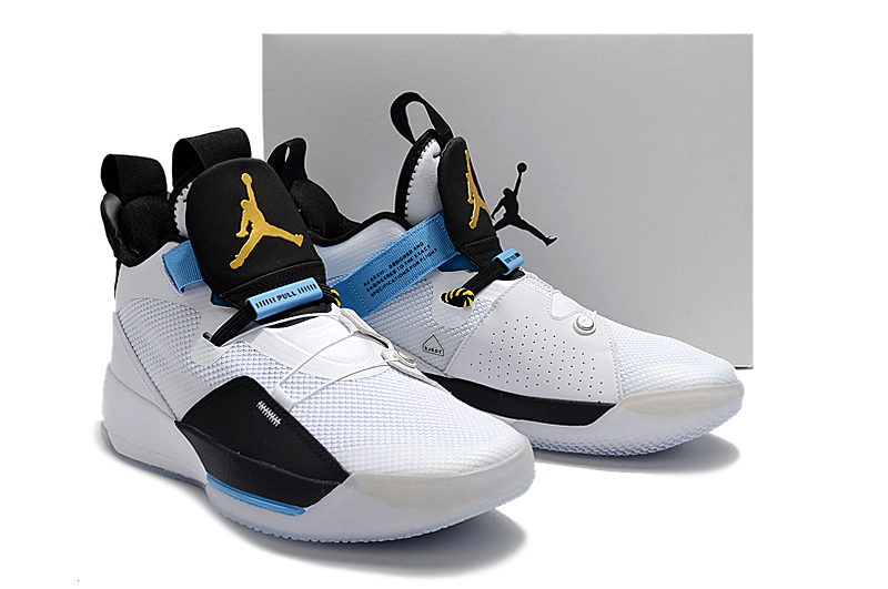 Men Air Jordan XXXIII White Black Blue Gold Shoes