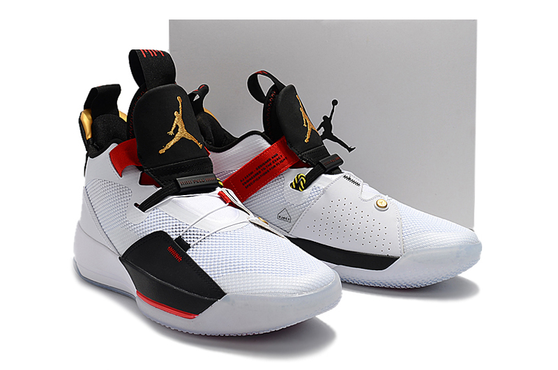 Men Air Jordan XXXIII White Black Gold Red Shoes