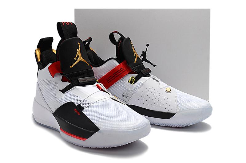 35faab6e4a52 2019 Men Jordan XXXIII White Black Red Gold Shoes