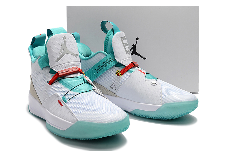 Men Air Jordan XXXIII White Gint Green Shoes