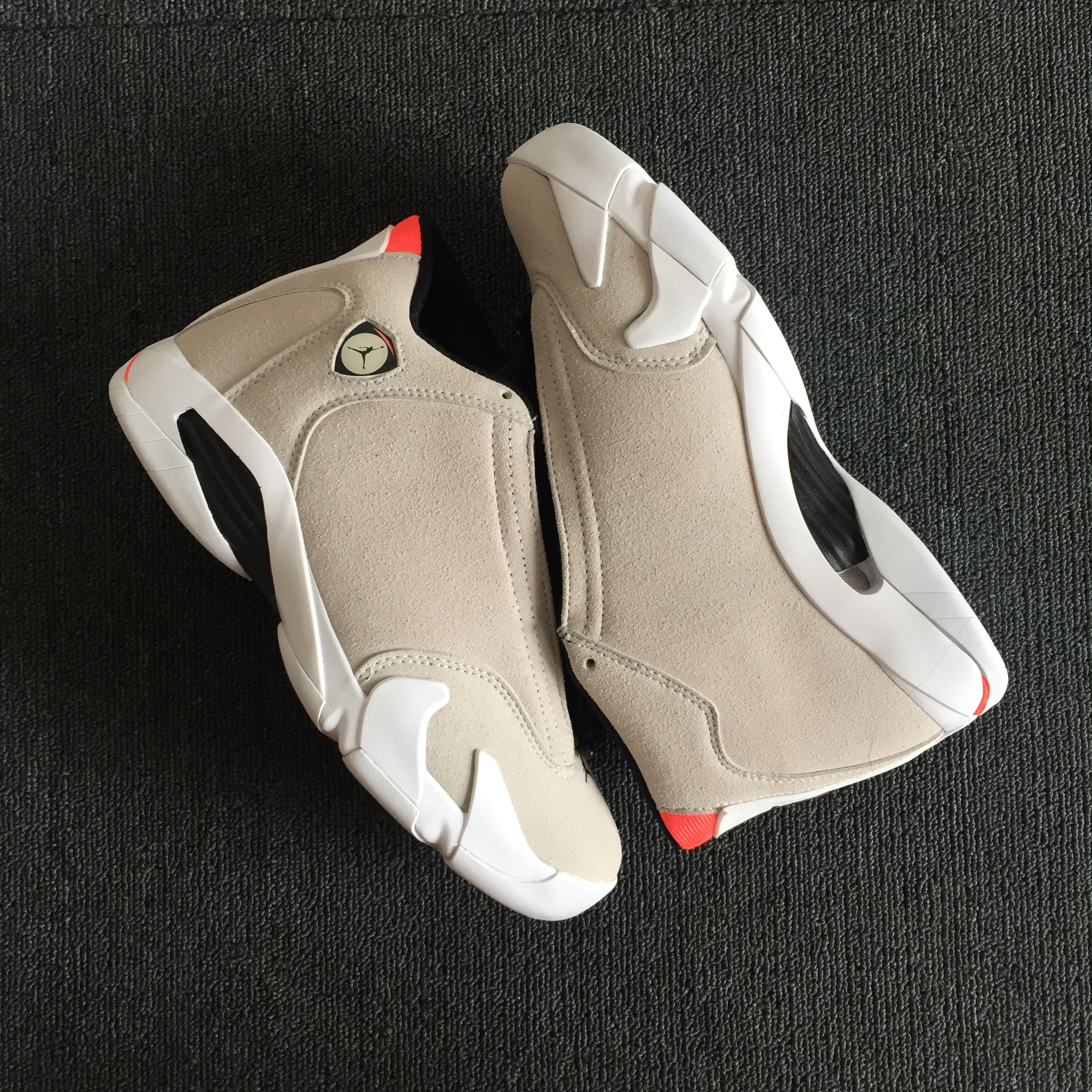 Men Jordan 14 Desert Sand Official Photos Beign Black Shoes