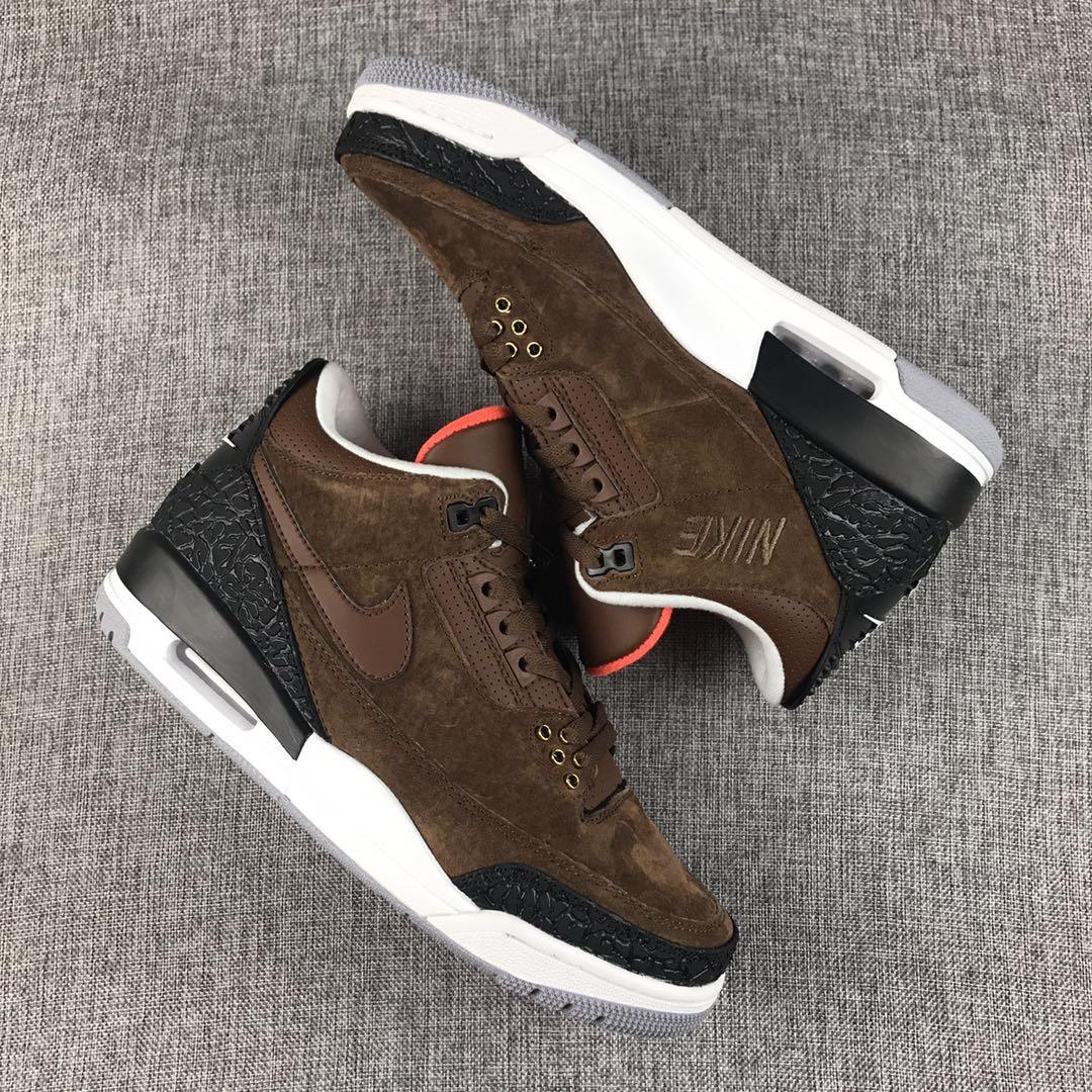 a72d480400e8 Men Jordan 3 Coffe Brown Black Shoes