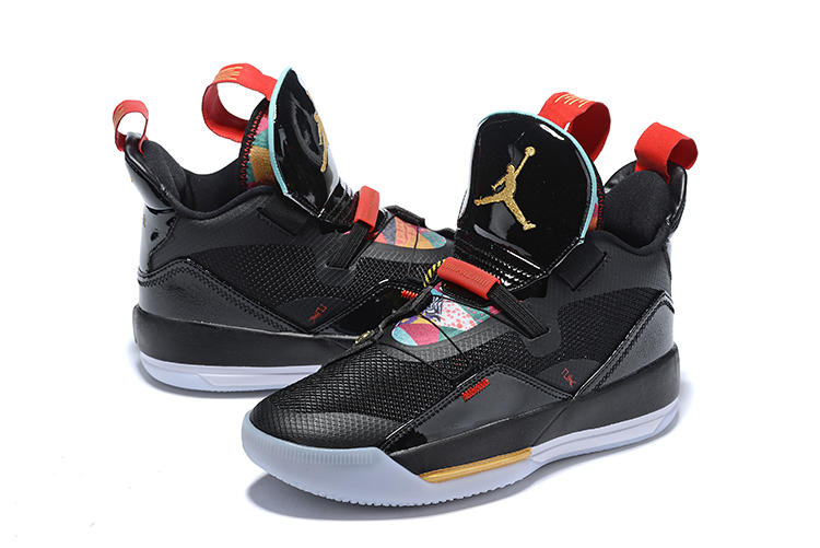 Men Jordan 33 CNY Black Red Gold Shoes