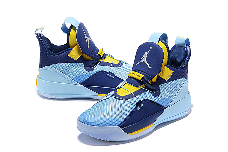 Men Jordan 33 Jade Yellow Blue Shoes