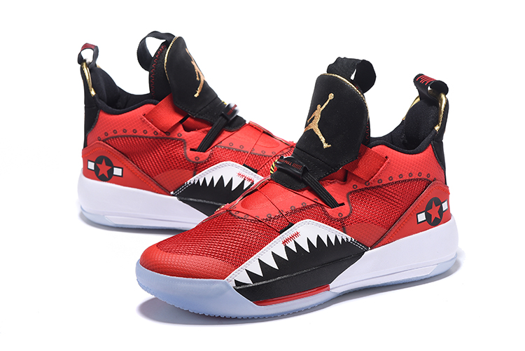 Men Jordan 33 Red Black Shark Teeth Shoes