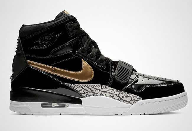 Men Jordan Legacy 312 Patent Leather Black Gold
