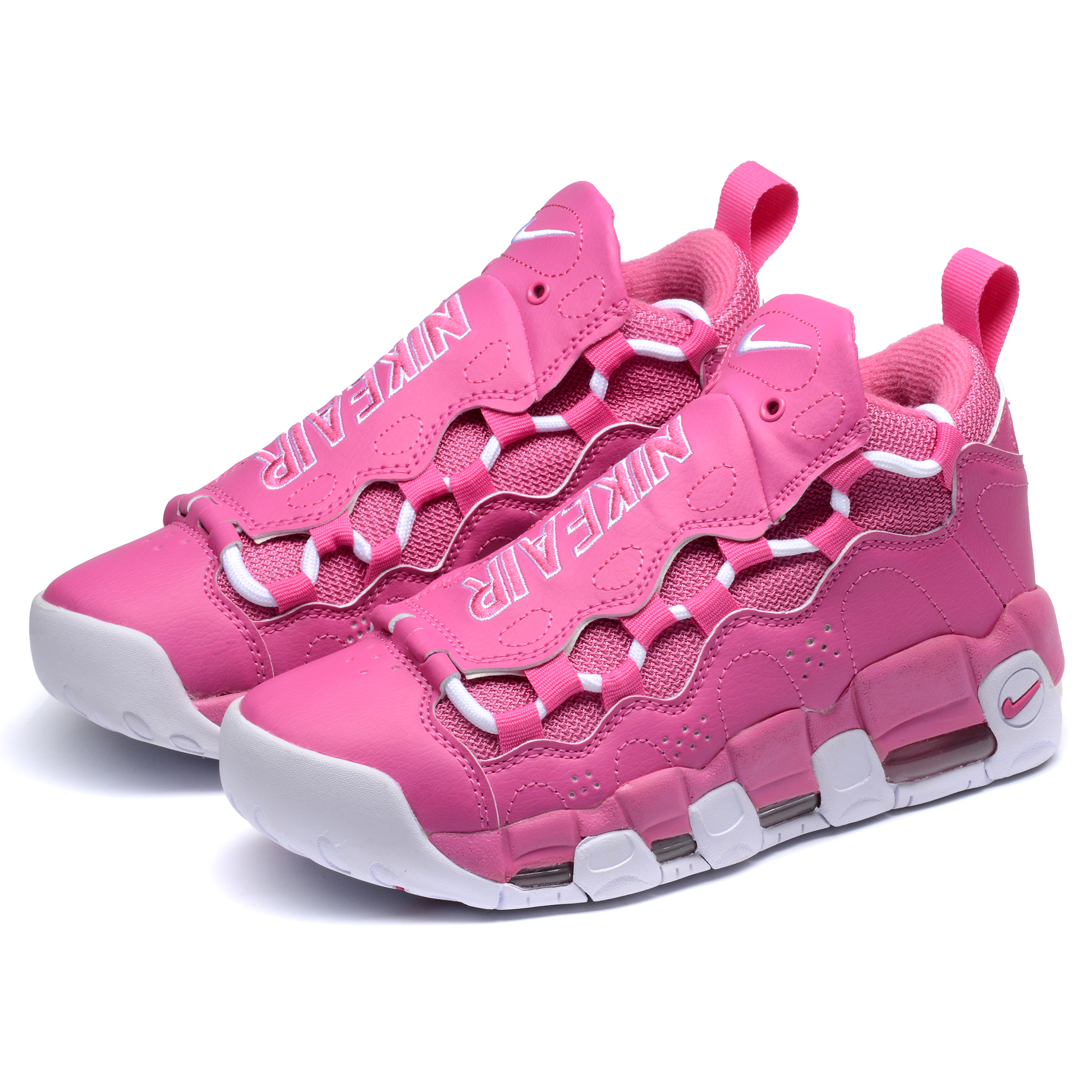 Men Nike Air More Money QS Pink White Shoes