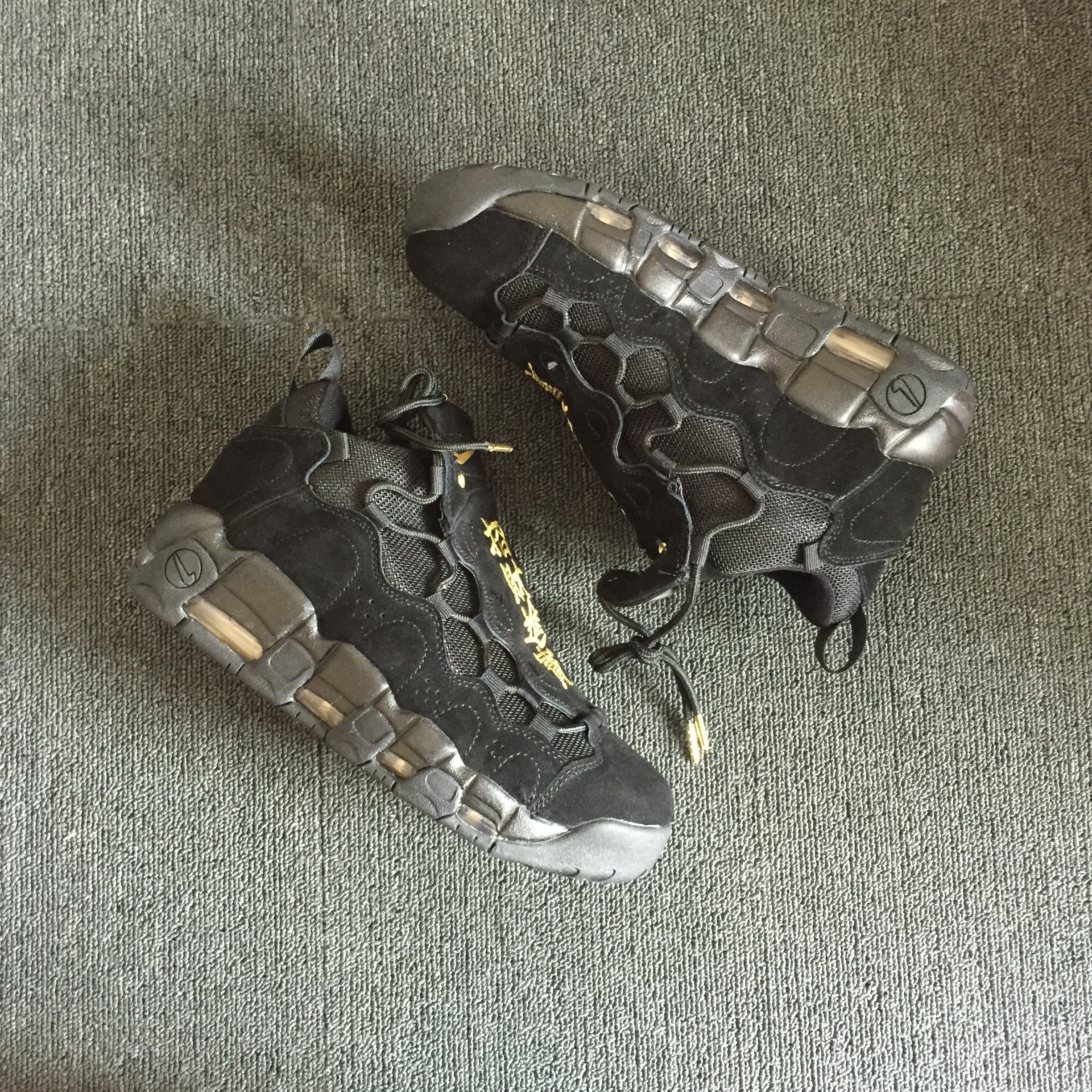 Men Nike Air More Uptempo All Black Shoes