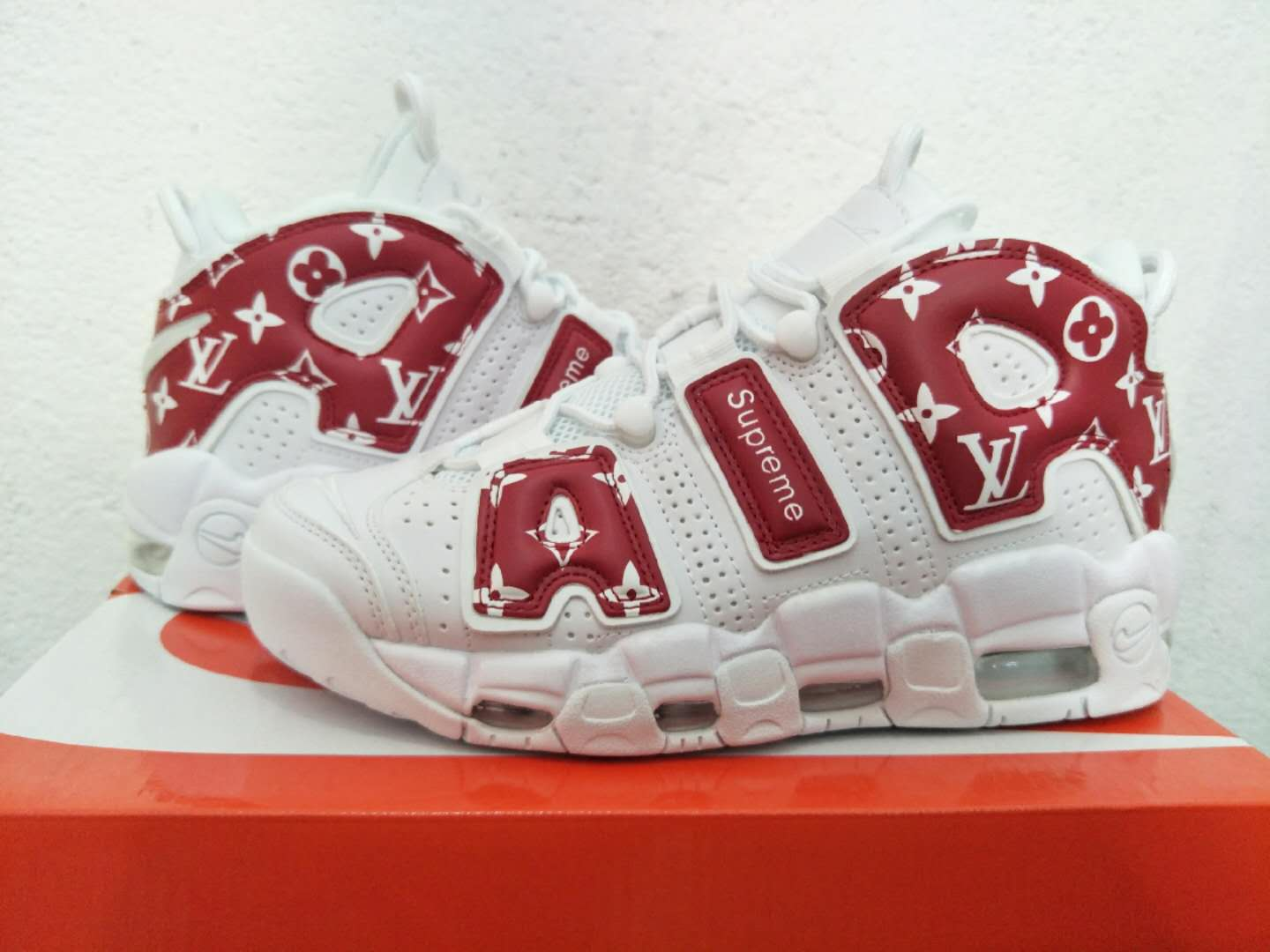 Men Nike Air More Uptempo LV White Red Shoes