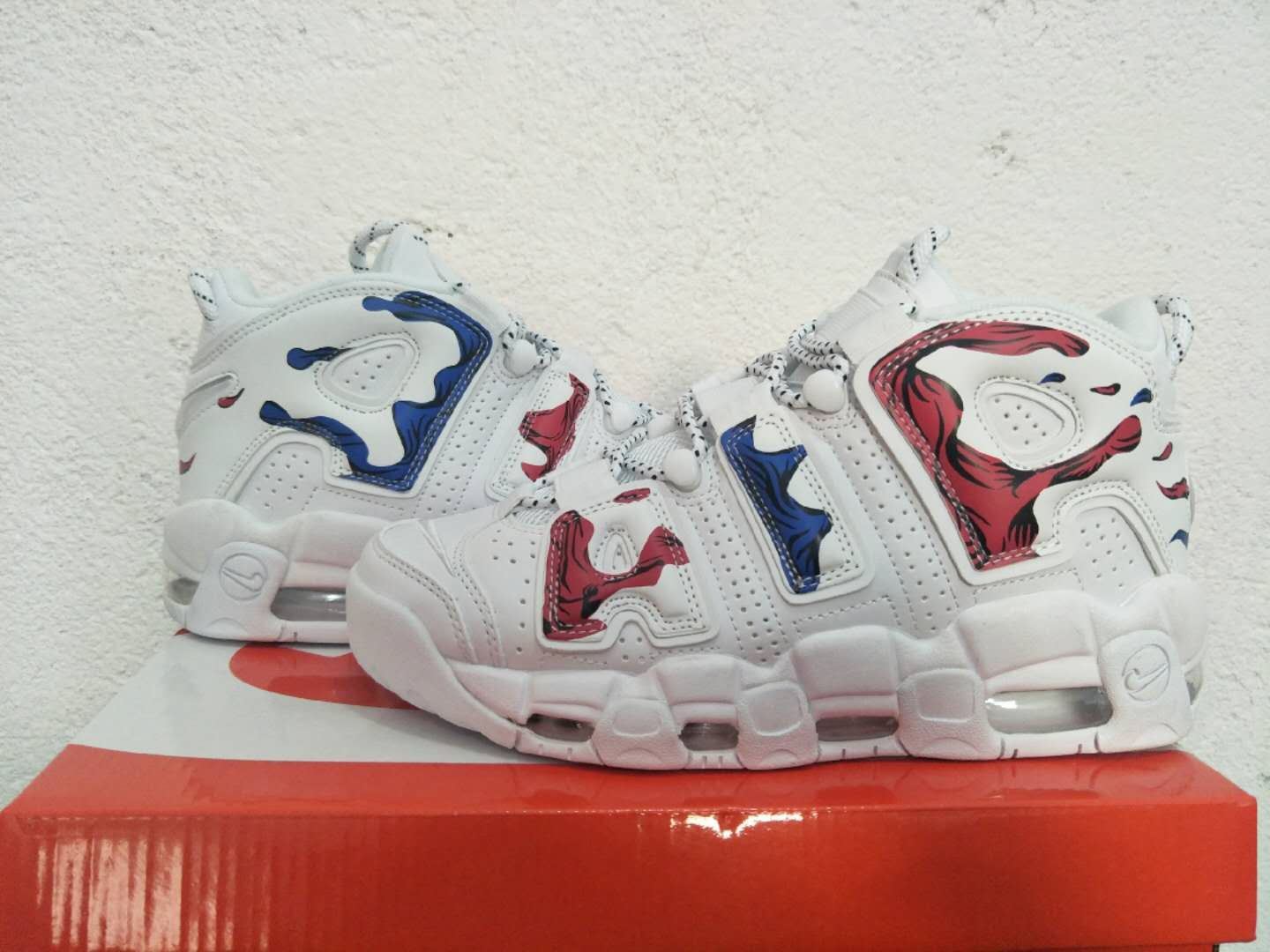 Men Nike Air More Uptempo White Red Blue Shoes