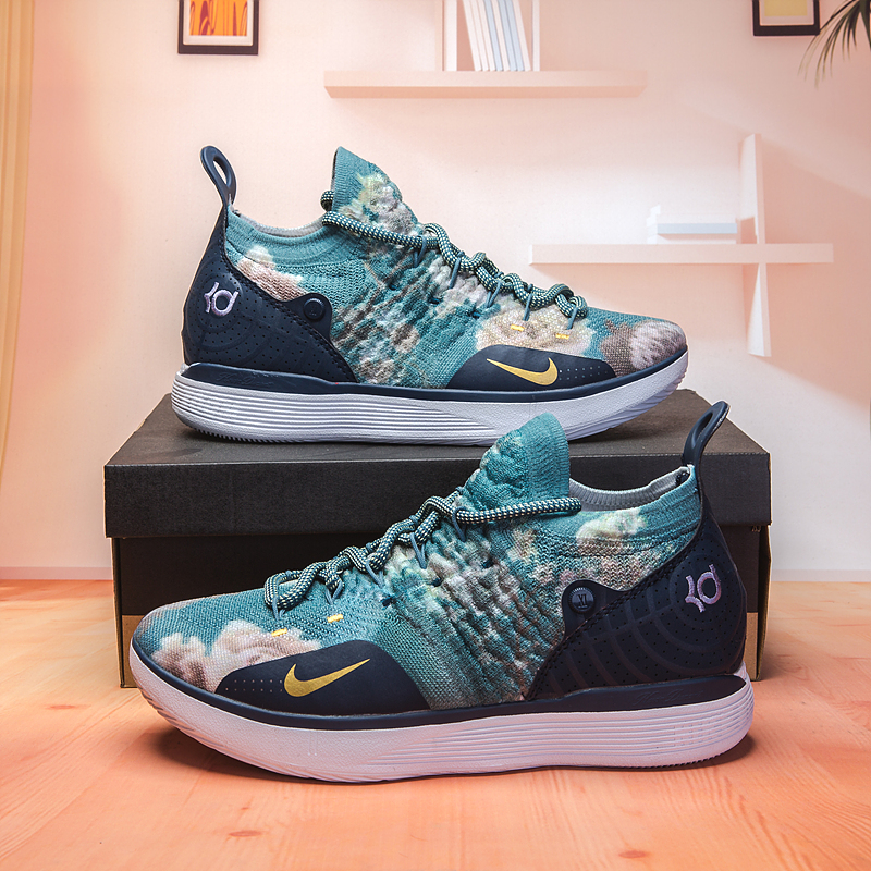 Men Nike KD 11 Flor Print Green Blue Basketball Shoes