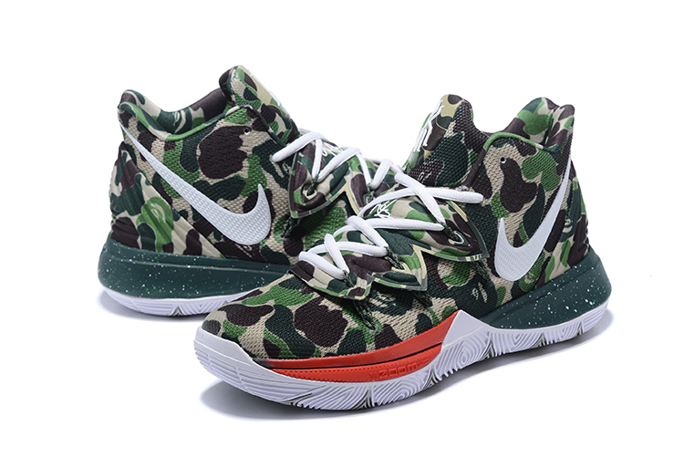 Men Nike Kyrie Irving 5 Army Green Red White Shoes
