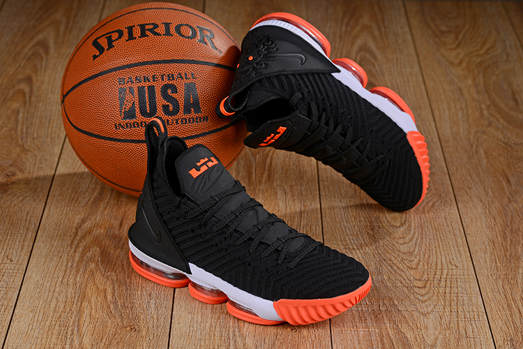 Men Nike LeBron James 16 Black Orange Shoes