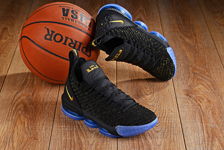 Men Nike LeBron James 16 Black Yellow Blue Sole Shoes