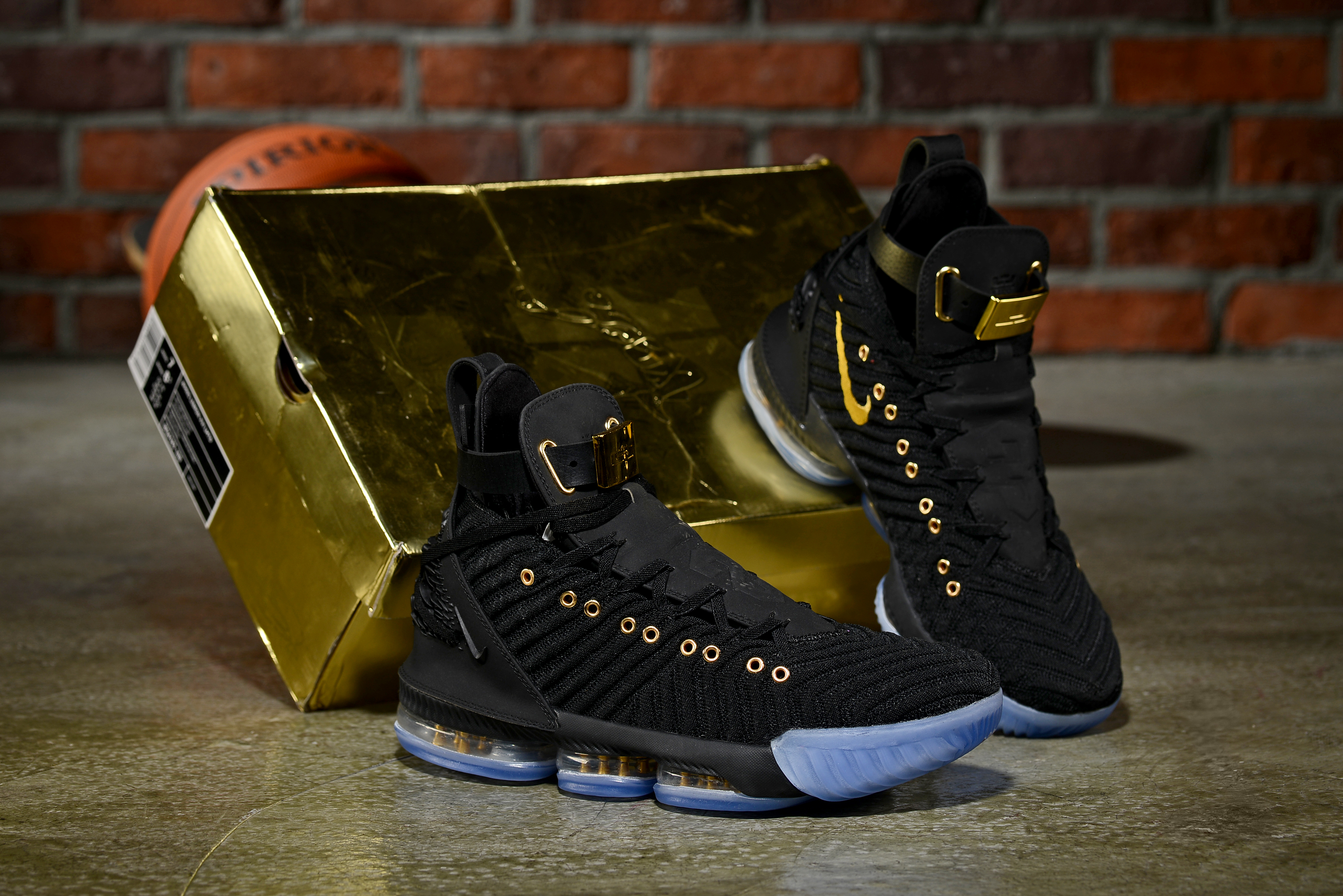 Men Nike Lebron James 16 Emboss Black Gold Ice Sole Shoes