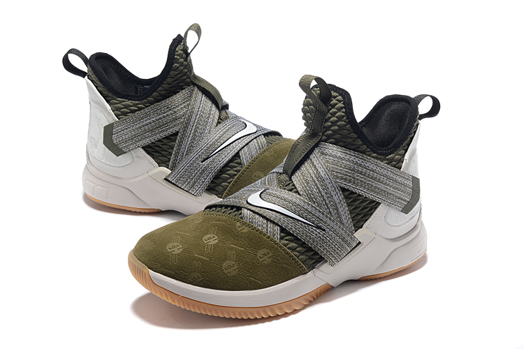 promo code 3e3ba 9e745 Men Nike Lebron James Soldier 12 Green Grey White Gum Sole ...