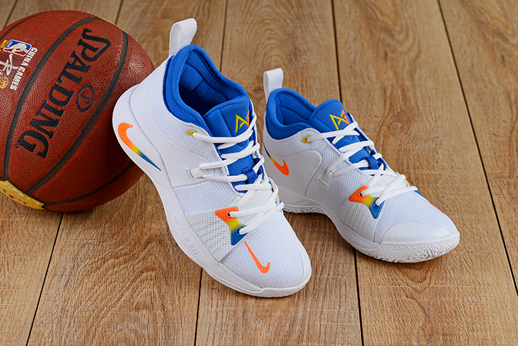 Men Nike PG 2 White Orange Blue