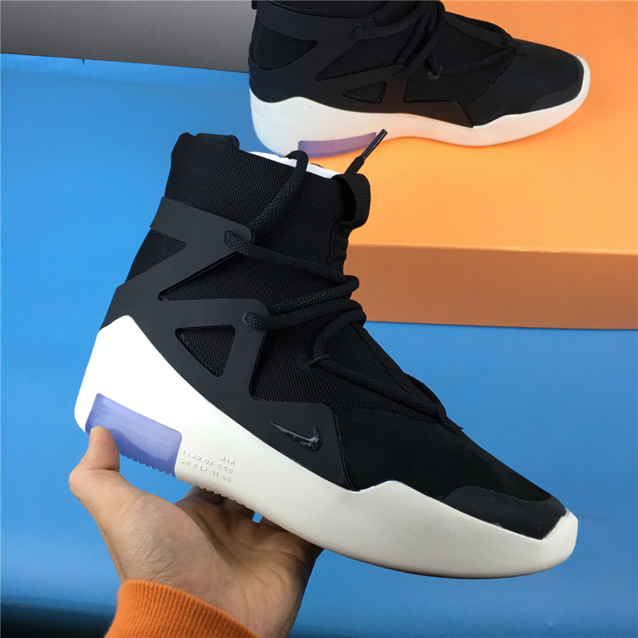 Men Nike X Fear of God 1 FOG Black White Shoes