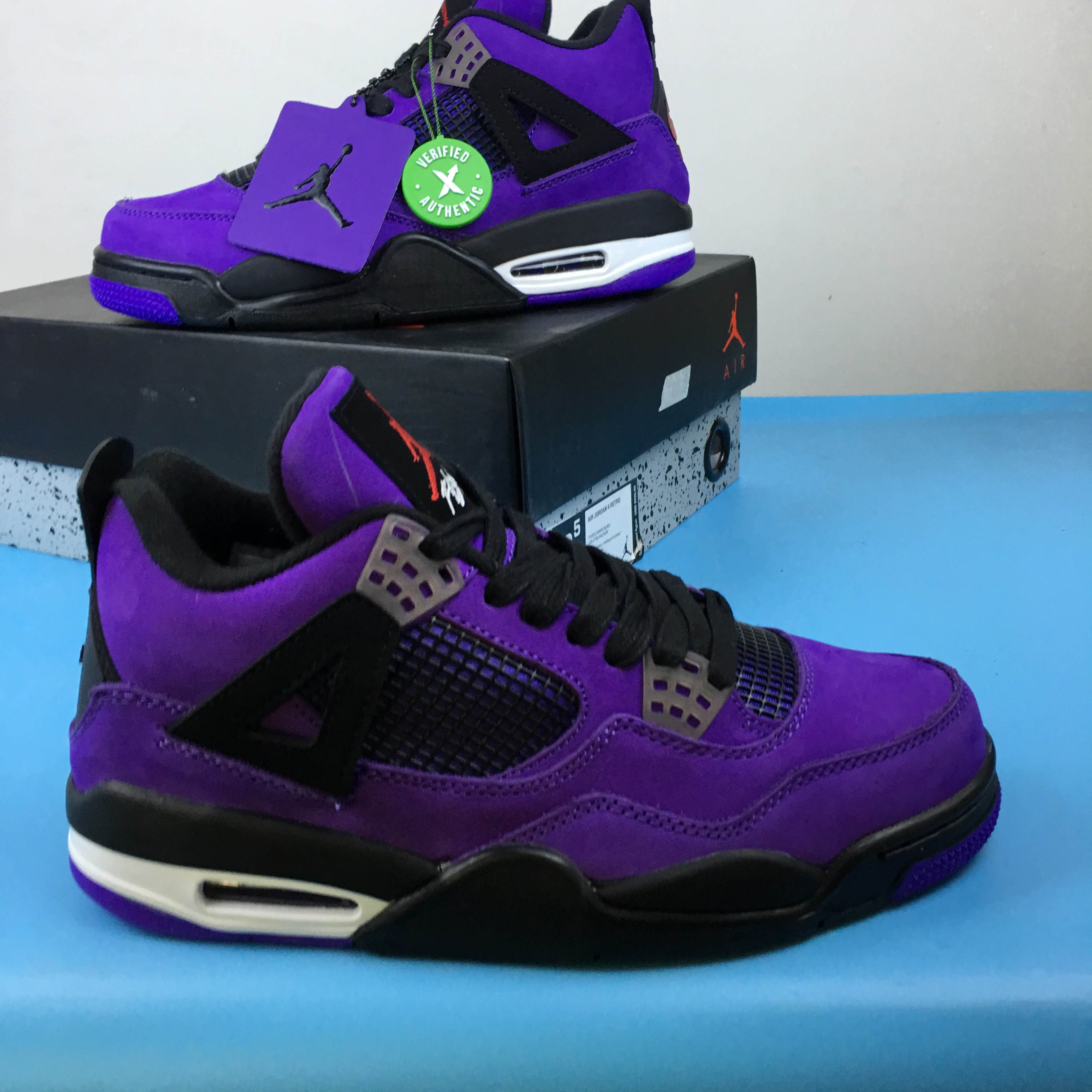sports shoes e75de 901d4 Men Travis Scott Jordan 4 Black Purple Shoes [18women10601 ...