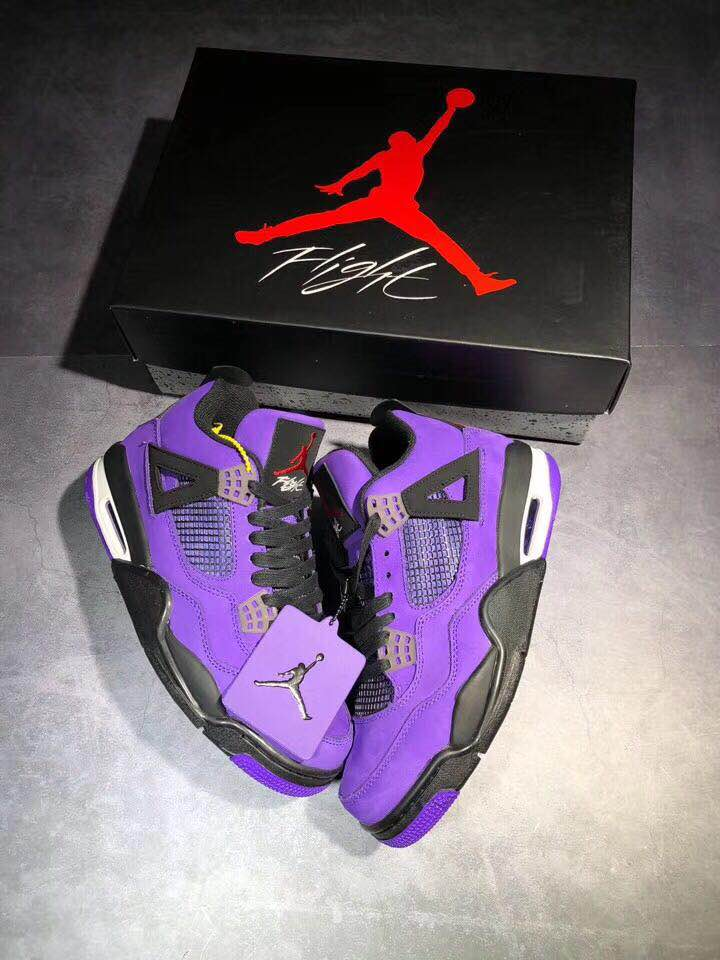 pretty nice 33e6f ca3e8 Men Travis Scott x Air Jordan 4 Purple Black Shoes