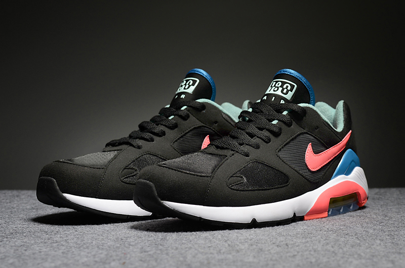 Men's Nike Air Max 180 Black Reddish Orange Blue Running Shoes