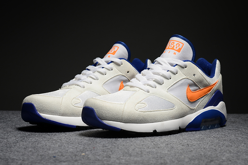 Men's Nike Air Max 180 White Orange Blue Running Shoes