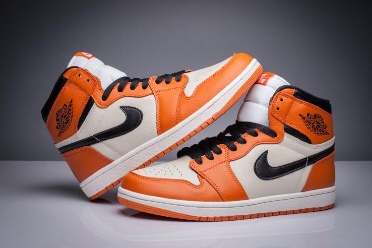 0860ccc7f69595 Men Air Jordan 1 Orange White Black Retro Shoes  WOMEN1147  -  91.00 ...