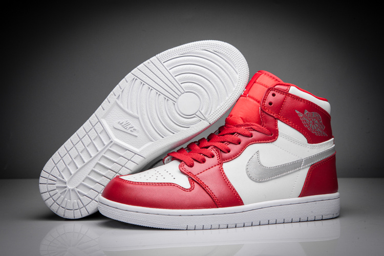 Men Air Jordan 1 Retro Red White Silver Shoes